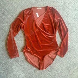 Madewell Velvet Wrap Bodysuit Burnished Rust Sz XL